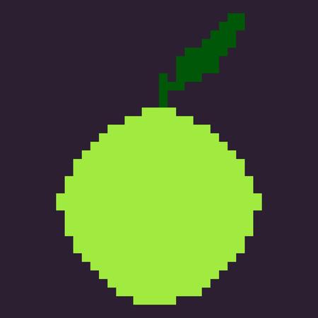 oldschool: Vector Single Oldschool Pixel Fruit Illustration. Pixel Green Apple. Illustration