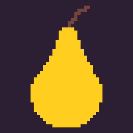 oldschool: Vector Single Oldschool Pixel Fruit Illustration. Pixel Yellow Pear. Illustration