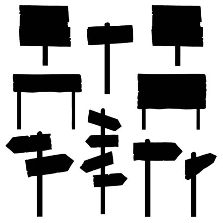 signposts: Vector Set of Signposts and Signboards Silhouettes