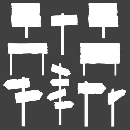 signboards: Vector Conjunto de Se�ales y Letreros Siluetas