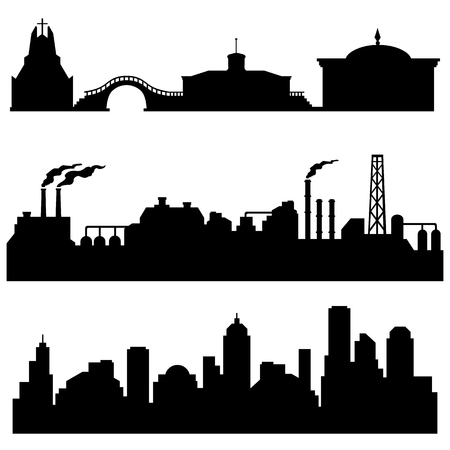 horizont: vector set of Black city silhouettes - cultural, industrial and urban buildings