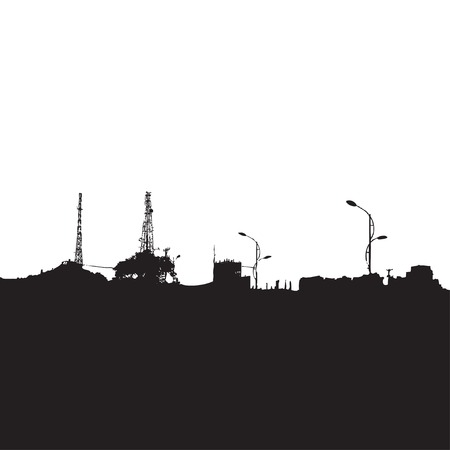 panorama view: Vector Black Silhouette of City Buildings. Landscape, View, Panorama.