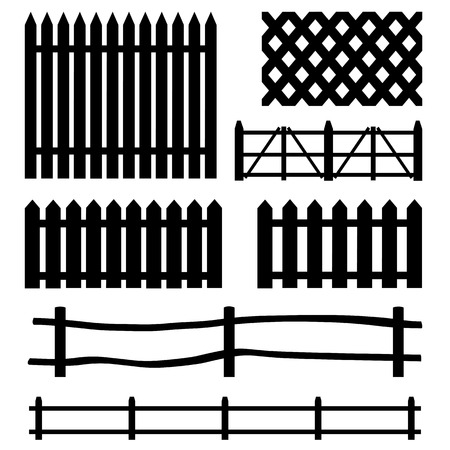 vector set of black rural fences silhouettes