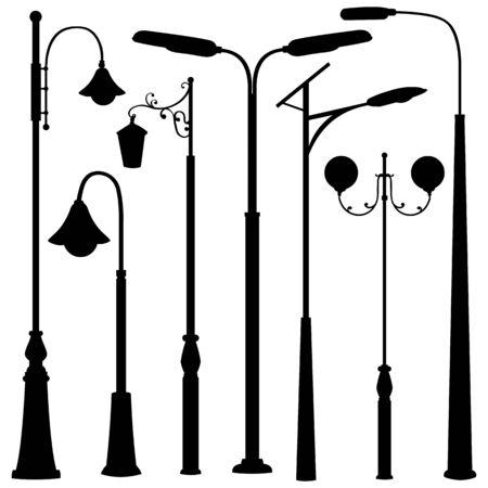 Vector Set of Black Street Lights Silhouettes
