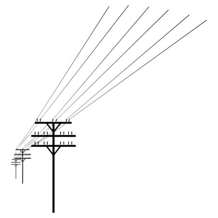 mains: Vector Isolated Black Silhouette of Power Line