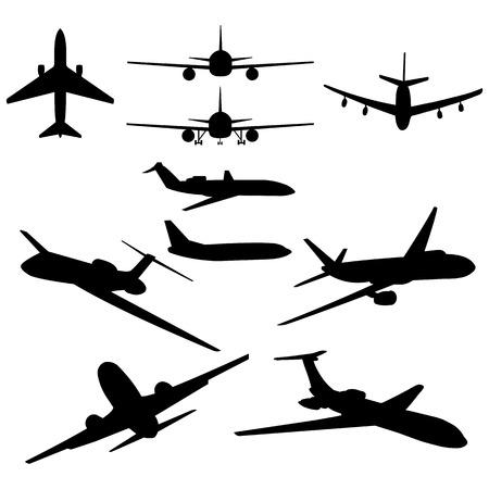 aviations: vector set of 10 black plane silhouette Illustration