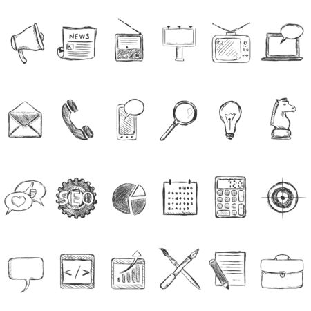 basic scheme: Vector Set of Sketch Advertising Icons. Types of Advertisement.