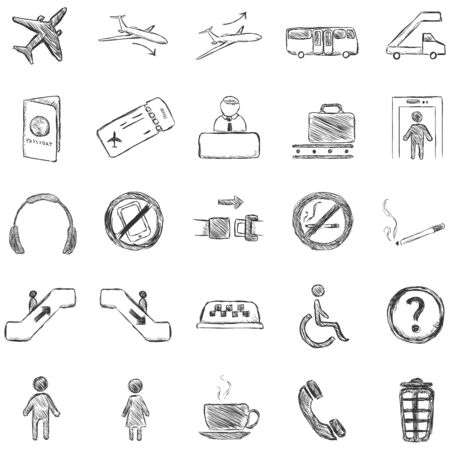 avia: Vector Set of Sketch Airport Icons Illustration