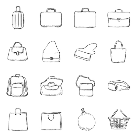 rubbish cart: Vector Set of Sketch Bags Icons
