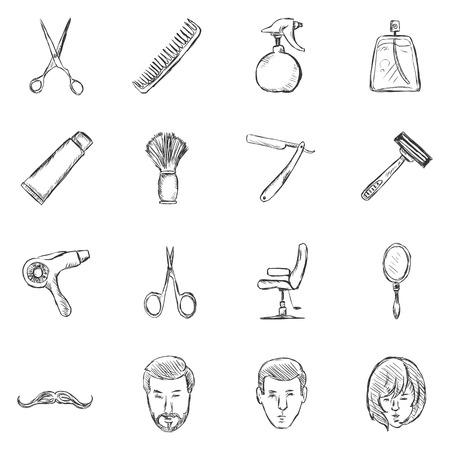 Vector Set of Sketch Barber Shop Icons Vektorové ilustrace