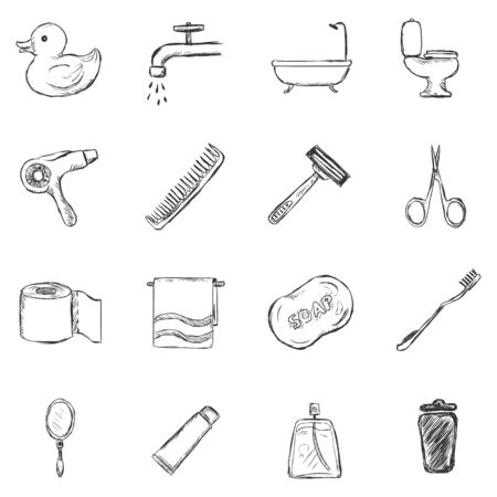 bin tub: Vector Set of Sketch Bathroom and Hygiene Icons.