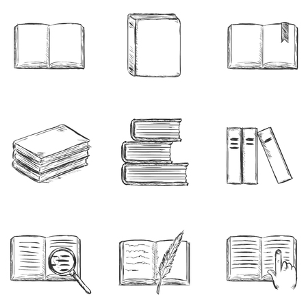 bookseller: Vector Set of  Sketch Books Icons Illustration