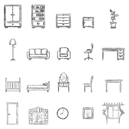 スケッチ家具アイコンのベクトルを設定