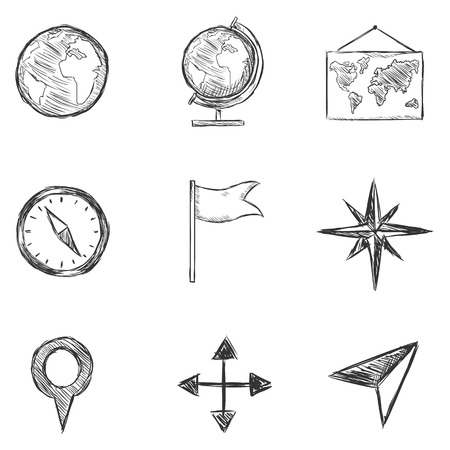 geography: Vector Set of  Sketch Geography and Navigation  Icons