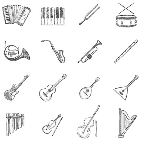 Vector Set of Sketch Musical Instruments Icons