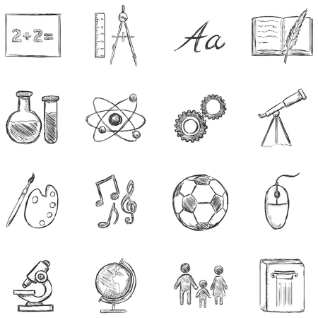 orthography: Vector Set of  School Subjects  Icons