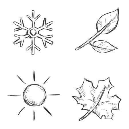 scorching: Vector Set of Sketch Season Icons