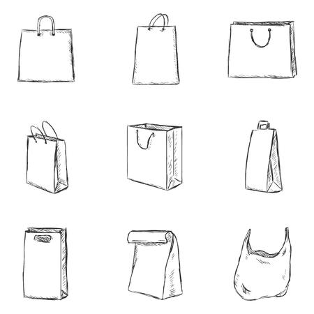 スケッチ ショッピング バッグ アイコンのベクトルを設定  イラスト・ベクター素材