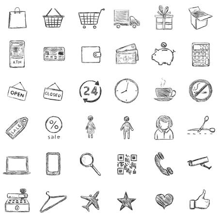 detachable: Vector Set Of Sketch Shopping Icons