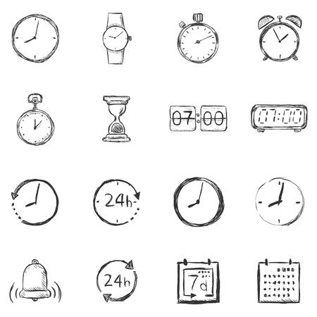 chronology: Vector Set of Sketch Time Icons