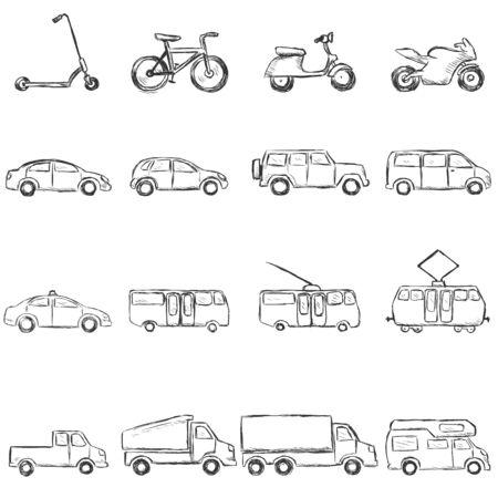 trackless: Vector Set of Sketch Ground Transportation Icons Illustration