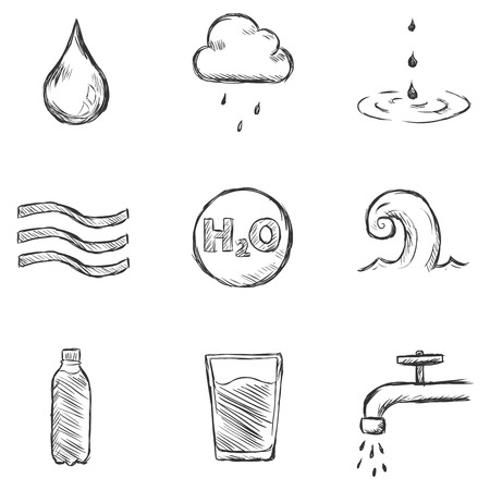 Vector Set of Sketch Water  Icons