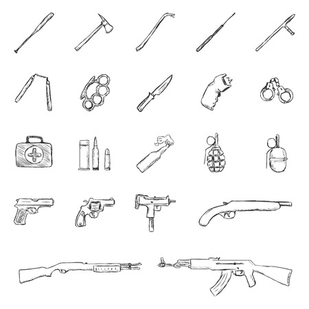 crowbar: Vector Set of Sketch Weapon Icons.Bbaseball Bat, Crowbar, Telescopic Baton, Nunchaku, BrassKnuckles,Knife, stun gun, Handcuffs, First Aid Kkit,  Grenade, Pistol, Revolver, Ingram, Shotgun.