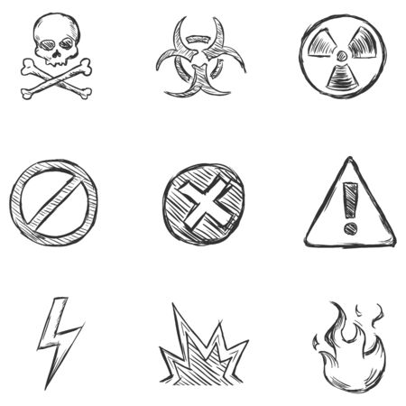 volatile: Vector Set of Sketch Warning  Icons