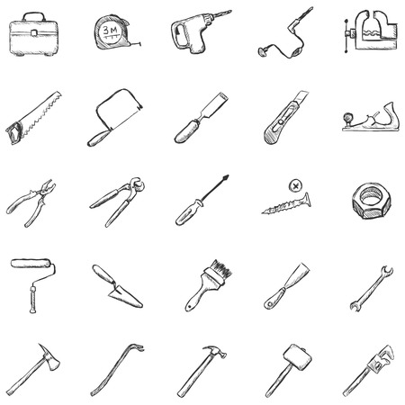 jack plane: Vector Set of Sketch Work Tools Icons