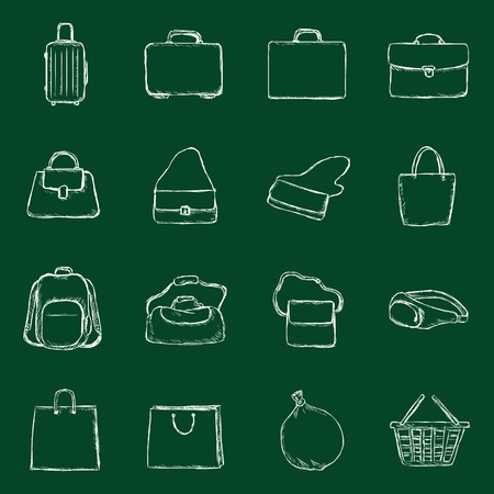 rubbish cart: Vector Bags Icons