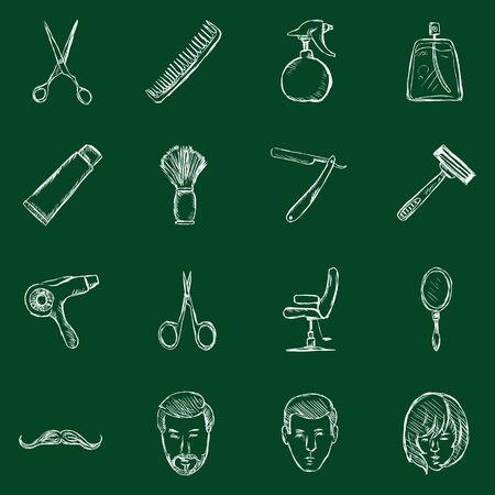 clippers comb: Vector Set of Sketch Barber Shop Icons
