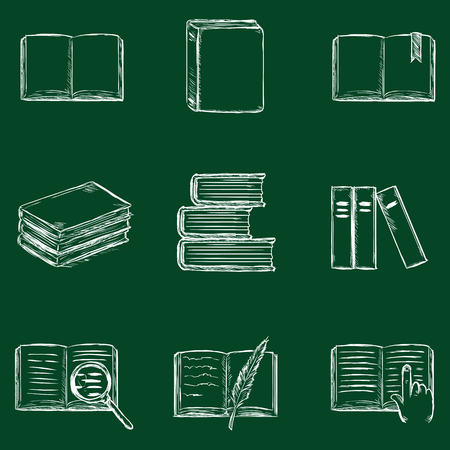 bookseller: Vector Set of Sketch Books Icons. Chalk on a Blackboard.