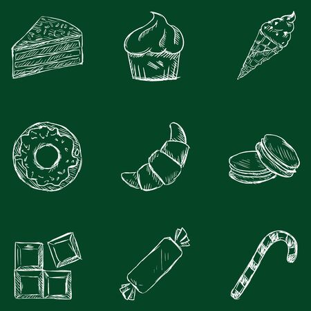 brownie: Vector Set of Sketch Dessert Icons. Sweet-Stuff. Confection. Cake, Brownie, Ice Cream, Donut, Croissant, Macaroni, Chocolate, Candy, Candy Cane.