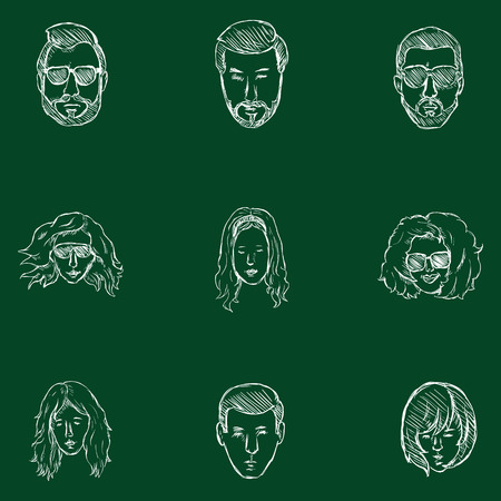 genteel: Vector Set of Sketch Hairstyles Icons. Hair, Beard, Mustache. Mens and Womens Hairstyles. Illustration
