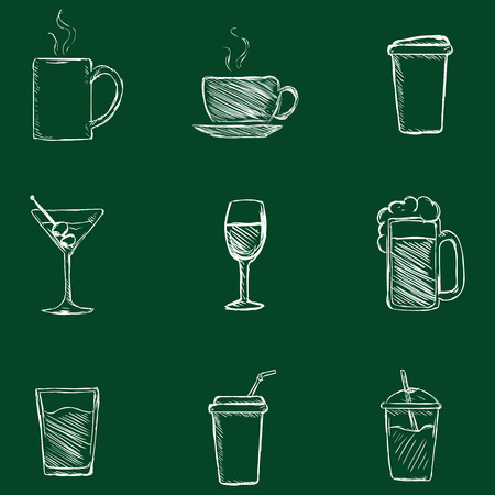 Vector Sketch drinken Icons. Thee, koffie, alcohol, martini, wijn, bier, mineraalwater, koolzuurhoudende Water, Smoothie, Cocktail. Stockfoto - 62609411