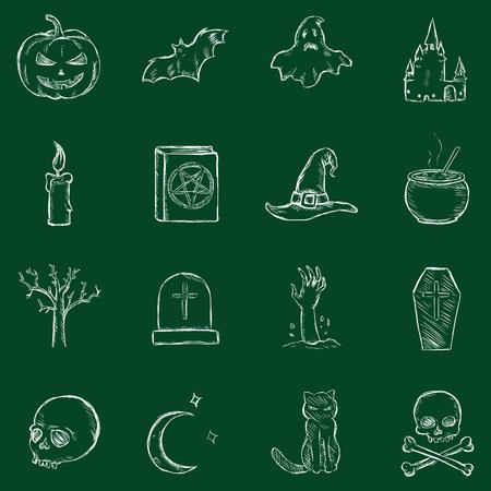 hearse: Vector Chalk Halloween Icons
