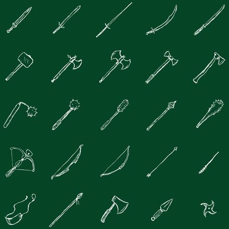 a cudgel: Vector Set of Sketch Medieval Weapon Icons