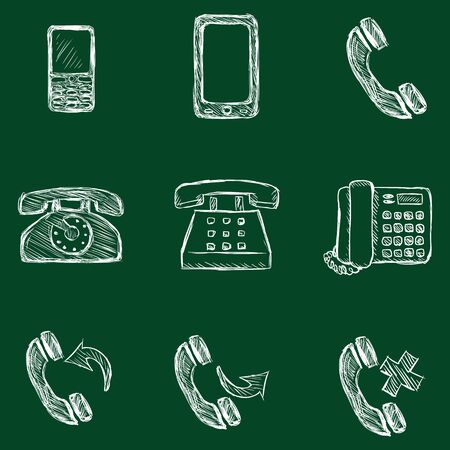telephone icons: Vector Set of Sketch Telephone Icons Illustration