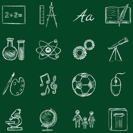 orthography: Vector Set of Sketch School Subjects Icons. Chalk on a Blackboard. Illustration