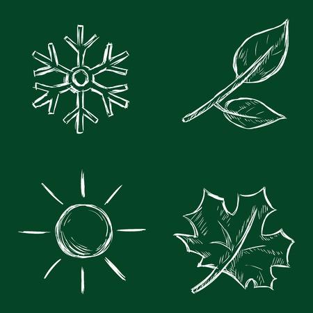 scorching: Vector Set of Chalk Season Icons Illustration