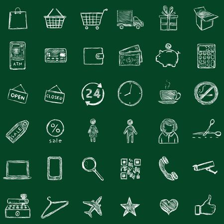coin box: Vector Shopping Icons Illustration