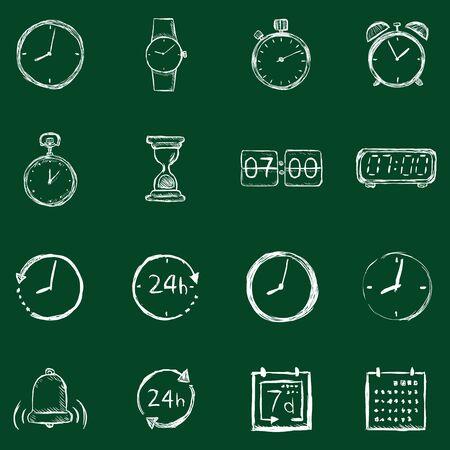 cronologia: Vector conjunto de dibujo Tiempo iconos. Tiza en una pizarra.