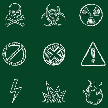 nuclear accident: Vector Set of Chalk Warning  Icons