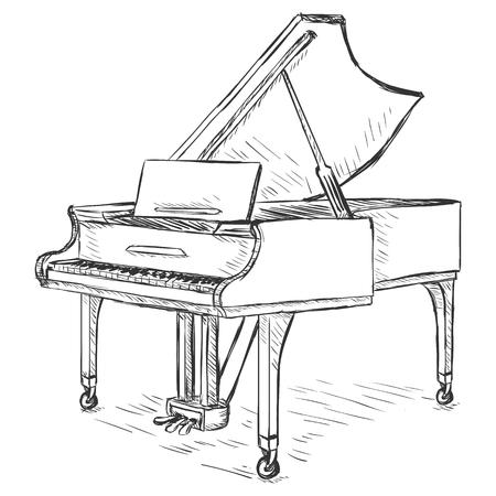 Vector Sketch Grand Piano 일러스트