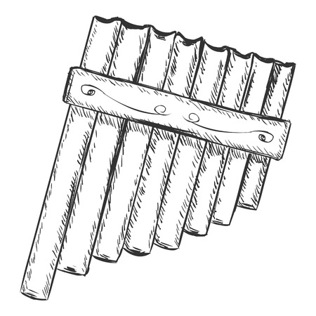 pan flute: Vector Sketch Panpipe Illustration
