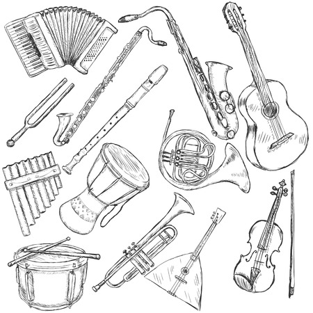 african sax: Vector Set of Isolated Sketch Musical Instruments Illustration
