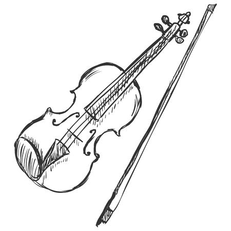 ベクター スケッチ ヴァイオリン バイオリン弓
