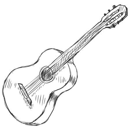ベクター スケッチ アコースティック ギター