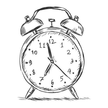 ベクター スケッチ イラスト - 白い背景の上の目覚まし時計