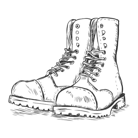 military draft: vector sketch illustration - army boots on white background